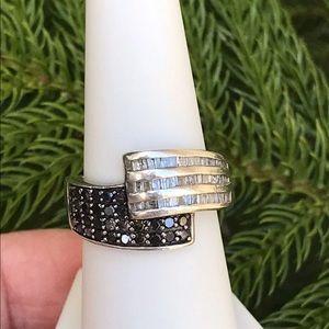 Genuine White & Black 1 Ct Diamond Ring
